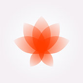 Lotus flower, logo, sign. Vector flat flower icon. Minimalistic image on an isolated background. Lotus for yoga studio, spa. The symbol of yogis. Emblem for the company. Red Rose.
