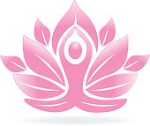 Lotus flower yoga man icon image icon vector art design
