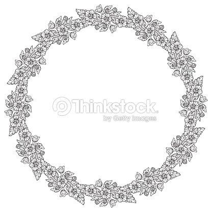 Flores De Loto Dispuestos En Marco Circular Intrincado Motivo ...