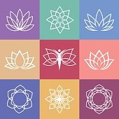 Lotus. Vector yoga icons and round line badges - graphic design elements in outline style or logo templates for spa center or yoga studio.