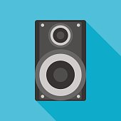 loudspeaker icon with long shadow. flat style vector illustration