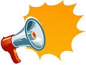 Loudspeaker, megaphone, bullhorn icon or symbol. Advertising, promotion concept. Vector illustration isolated on white background