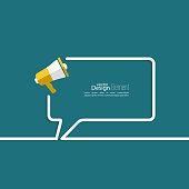 Megaphone, loudspeaker with bubbles speech. for social media marketing concept. Notification through the speaker, advertisement bullhorn. Chat symbol. Outline.