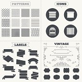 Seamless patterns. Sale tags labels. Louvers icons. Plisse, rolls, vertical and horizontal. Window blinds or jalousie symbols. Vintage decoration. Vector