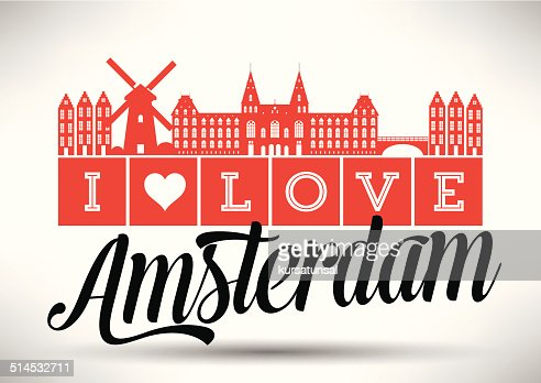 i love amsterdam typography design vector art getty images. Black Bedroom Furniture Sets. Home Design Ideas
