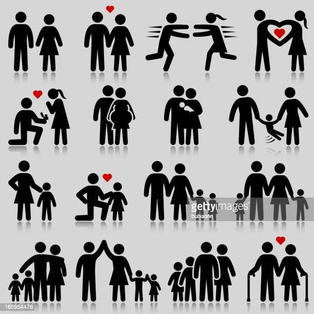Liebe und Familienleben & Schwarz-Weiß-Vektor icon-set