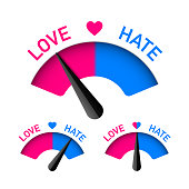 Love and Hate meter, Valentines Day design element. Vector illustration with transparent effect, eps10.
