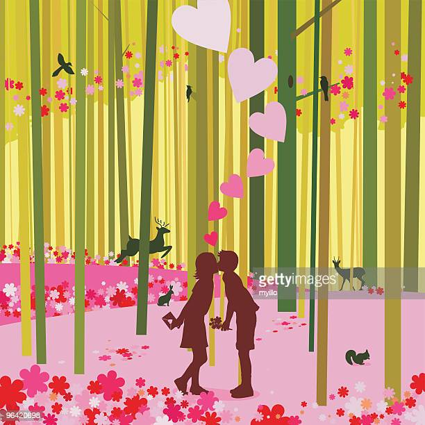Love at the spring forest and first kiss