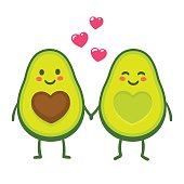 Cute cartoon avocado couple holding hands, Valentine's day greeting card. Avocado love with hearts vector illustration.