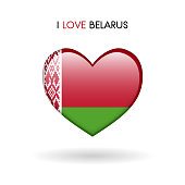 Love Belarus symbol. Flag Heart Glossy icon on a white background isolated vector illustration eps10
