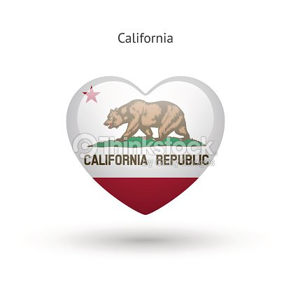 Love California State Symbol Heart Flag Icon Vector Art Thinkstock