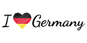 I love country Germany, text heart Doodle, vector calligraphic text, I love Germany flag heart patriot de