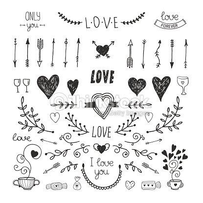 f7894be4c612d Amor Elementos Decorativos Colección Dibujados A Mano Arte vectorial ...