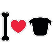 I love dogs, pugs sticker style in black and red with heart element, bone