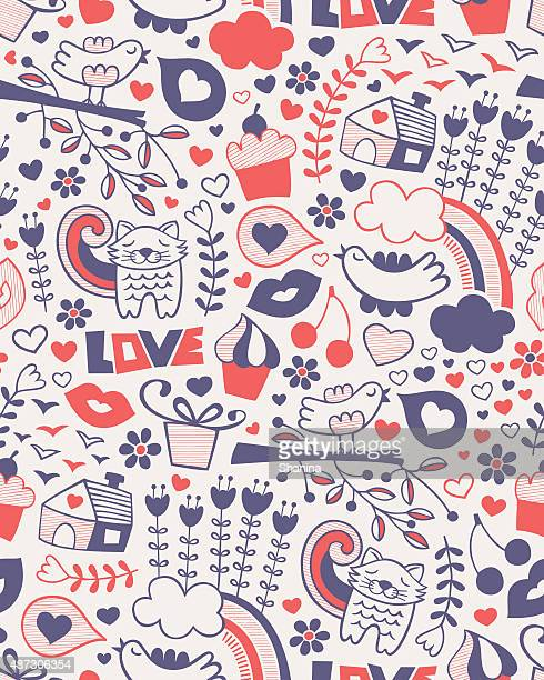 Amor Doodle Seamless Pattern