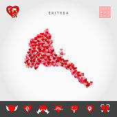 I Love Eritrea. Red and Pink Hearts Pattern Vector Map of Eritrea Isolated on Grey Background. Love Icon Set.