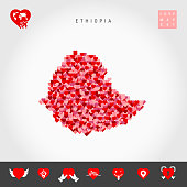 I Love Ethiopia. Red and Pink Hearts Pattern Vector Map of Ethiopia Isolated on Grey Background. Love Icon Set.
