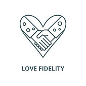Love fidelity vector line icon, outline concept, linear sign