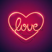 Love heart neon sign makes it quick and easy to customize your romance holiday projects. Used neon vector brushes included.
