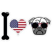 I love hipster pug illustration in color with American symbols such as  American flag colors and elements : white and red stripes and white stars on blue background , symbolizing Independence day in s