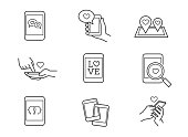 Love message, online dating, mobile romance vector icons