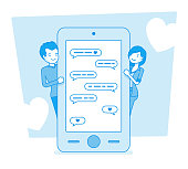 Love in messenger. Young happy couple using mobile app to connect, pair sending instant messaging delivering sweet words to express feelings. Vector line art illustration