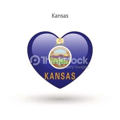 love kansas state symbol heart flag icon vector art thinkstock