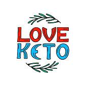 I love keto hand drawn doodle text with rosemary sprigs. Healthy eating concept.