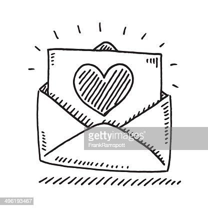 Love Letter Heart Drawing Vector Art