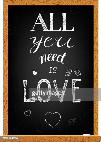 Love lettering on chalkboard : Vector Art