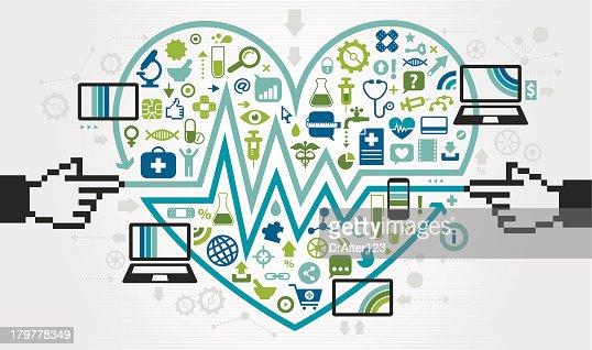 Love Mobile eHealth Communication : Vector Art