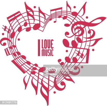 I love music concept, single color design. : Vector Art
