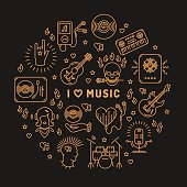 I love music - inspiring quote, line art icons, circle infographic on a dark background. Isolated illustration for musical poster, cards, banners, flyers, brochures. Music studio moderm vector