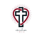 Love of God vector creative symbol design combined with Christian Cross and heart, vector sign.