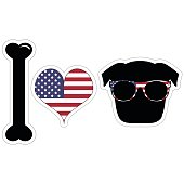I love pug illustration in black with American symbols such as  American flag colors and elements : white and red stripes and white stars on blue background , symbolizing Independence day in sticker s