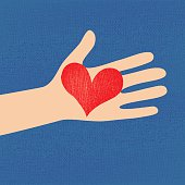 Love red heart in hand to woman on grunge denim background . Vector illustration .