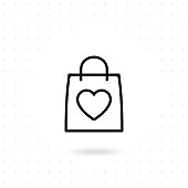 Love shopping icon. Shopping bag with heart line icon, outline vector sign. Love to shopping vector illustration