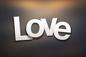 Love Sign with Abstract Background - Paper Font