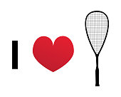 I love squash or racketball silhouette vector icon. Illustration of squash racket and heart.