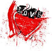 love symbol,  heart,grunge style vector illustartion