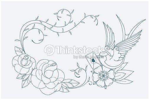 Love Tema Para Colorear Página Tatuaje Señales De Una Antigua ...