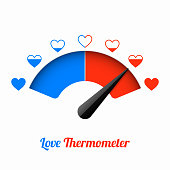 Love thermometer, Valentines Day card design element vector illustration