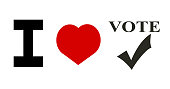 I love to vote design with heart
