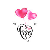 Love typography text with flying pink heart shape balloons vector banner design for valentines day greeting card