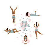 Love who you are inspirational text quote card with various of young women characters in different poses.