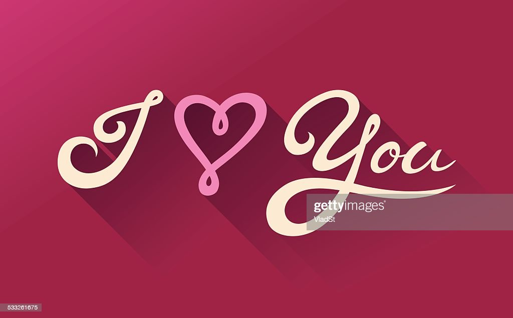 I Love You Calligraphy St Valentines Day Card Vector Art: i love you calligraphy