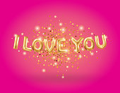 I love you gold letter balloons on pink. I love you. Valentines day card. Gold background for flyer, poster, sign, banner, web header. Abstract golden light blur shine background text, type, letters.