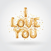 I love you gold balloons. I love you letter. Valentines day card. Gold background for flyer, poster, sign, banner, web header. Abstract golden background text, type, letters. Golden blur shine light