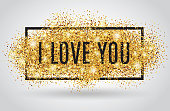 Valentines day background. I love you. Gold background for flyer. Poster, sign, banner and web header. Abstract golden background for text, type, quote. Red blur background.