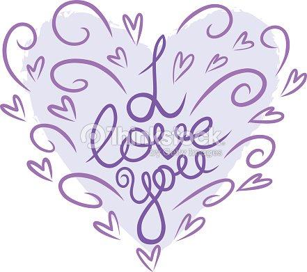I Love Youfrase Em Inglês Lettering Dia Dos Namorados Cartão Arte